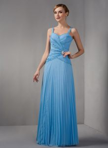 Column Strap Floor-length Pleats Beads Prom Cocktail Dress in Chino