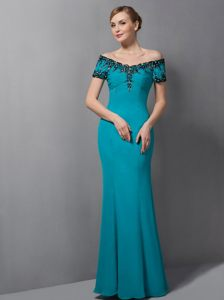2014 Teal Mermaid Off The Shoulder Cocktail Party Dress in Belmont