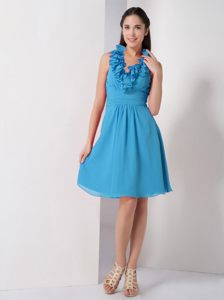 Aqua Blue Halter Ruched Knee-length Dress For Cocktail Party in US