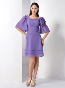 Purple Empire Square Puff Sleeves Cocktail Reception Dresses in GB