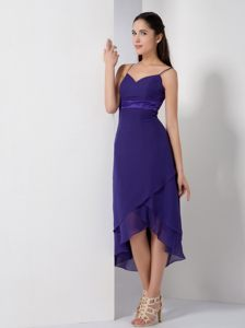 Spaghetti Straps Purple High-low Homecoming Cocktail Dresses in NYC