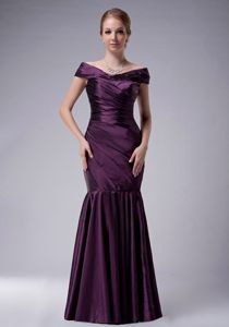 Purple Mermaid Off The Shoulder Ruche Cocktail Party Dresses in WV