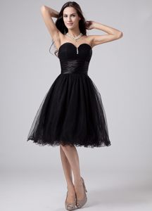 Black Sweetheart Beading Organza Knee-length Cocktails Dress in VA