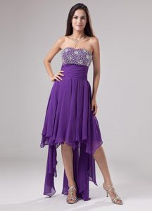 Purple Strapless Beaded Ruche Cocktail Dress with Longer Back in VT