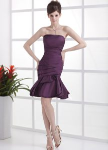 Cute Dark Purple Ruched Knee-length Cocktail Party Dresses in SD