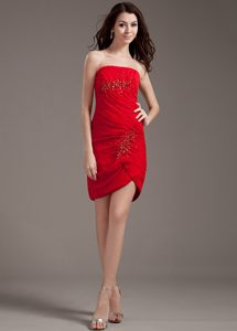 Strapless Red Chiffon Mini-length Cocktail Reception Dresses in SC