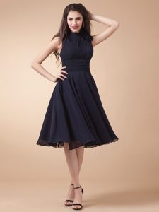 Black High-neck Ruched Evening Cocktail Dress in OR in Summer Time