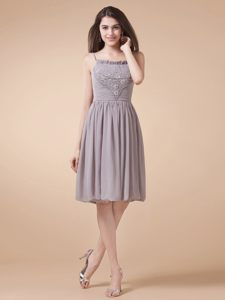 Grey Spaghetti Straps Beading Homecoming Cocktail Dresses in OK