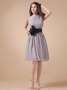 One Shoulder Knee-length Cocktail Dress with black Sash in OH