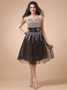 Leopard Print Beading Crusted Bodice Cocktail Party Dress in IA