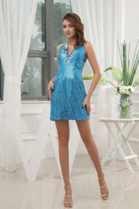 Blue V-neck Sequin Cocktail Dresses with Jeweled Neckline in ND
