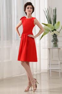 Red Knee-length Scoop Princess Wedding Cocktail Party Dress in NM