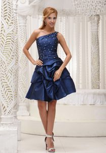 Navy Blue One Shoulder Knee-length Cocktail Dress For Celeb in FL
