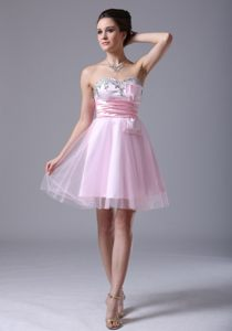 Pink Bow-accented Homecoming Cocktail Dresses with Jewels in NH