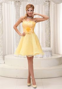 Light Yellow Beaded Cocktail Party Dress with Hand Flowers in NV