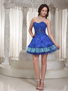 Blue Sweetheart Beaded Mini-length Evening Cocktail Dress in NE