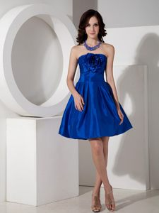 Royal Blue A-line Strapless Mini-length Cocktails Dresses in MT