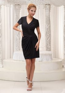 2014 Black Short Sleeves Mini-length V-neck Cocktail Dress in MO