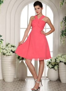 Watermelon V-neck Ruche Knee-length Cocktail Dress For Prom in CT