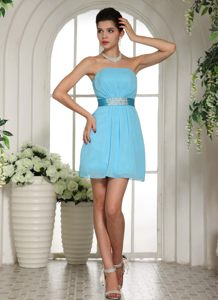 Baby Blue Ruched Cocktail Party Dresses with Beaded Waist in CA