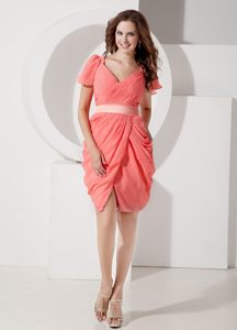 Watermelon V-neck Belt Cocktails Dresses with Draped Bottom in ME