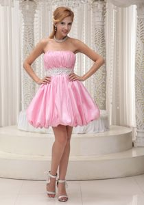 Pink Mini-length Sash Beading Puffy Evening Cocktail Dress in KY