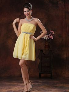 Yellow Beaded Mini-length Prom Cocktail Dress with Ruches in CO