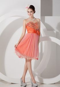Orange A-line Dresses For Wedding Cocktail Party with Glitz in ID