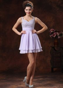 2013 Lilac Strap Beaded Mini-length Sash Cocktail Dress in AL USA
