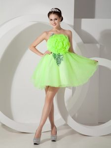 Hand Made Flowers Spring Green Strapless Cocktail Dress in Texas