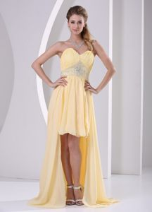 Nebraska Light Yellow High-low Sweetheart Beaded Cocktail Dress