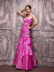 New Hampshise Hot Pink Column Sweetheart Beading Cocktail Dress