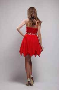 Oklahoma Red Sweetheart Beading Ruches Cocktail Dress Mini-length
