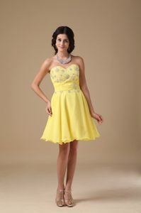 Yellow A-line Sweetheart Beading Cocktail Dress in Pennsylvania