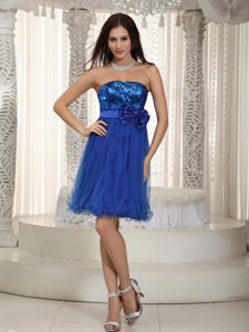 Sequin Strapless Mini-length Bowknot Royal Blue Cocktail Dress
