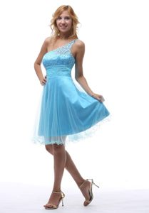 One Shoulder Beading Aqua Blue Cocktail Dress in West Virginia