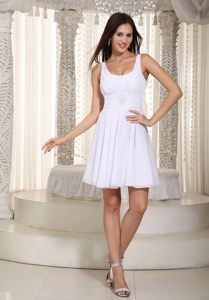 Wisconsin Mini-length Empire Straps Beading White Cocktail Dress