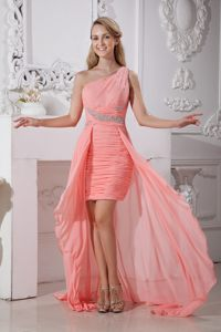 Nevada Watermelon One Shoulder High-low Beading Cocktail Dress
