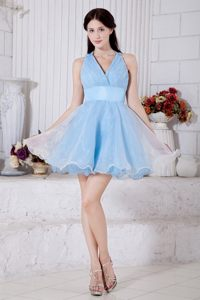 Idaho Sky Blue Princess V-neck Mini-length Pleat Cocktail Dress