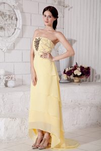 Light Yellow High-low Strapless Beading Chiffon Cocktail Dresses