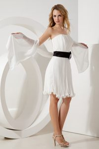 Pleated Organza White Cocktail Dresses with Black Belt in Honolulu