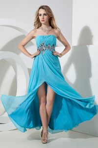 Sequins Aqua Blue Ruched Chiffon Cocktail Dresses in Berlin Germany