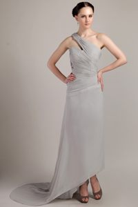 Ruched One Shoulder Grey Chiffon Train Cocktail Dress in Arnedo Spain