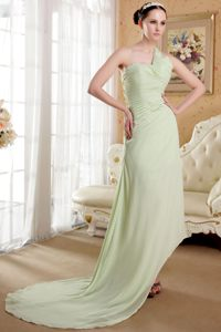 Yellow Green One Shoulder Ruched Train Cocktail Dress in Laguna Beach