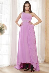 Lavender Ruched One Shoulder Beaded High-low Archena Cocktail Dress