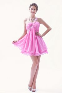 Rose Pink Applique One Shoulder Beading Organza Ruched Cocktail Dress