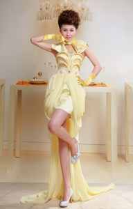 High-low Chiffon Yellow Appliques Fullerton Evening Cocktail Dresses