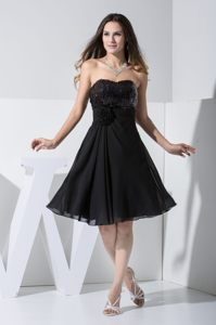 Hand Made Flower Paillette Black Chiffon Cocktail Dress in Bakersfield