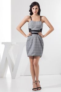 Spaghetti Straps Plaid Grey Algeciras Prom Cocktail Dress for Girls