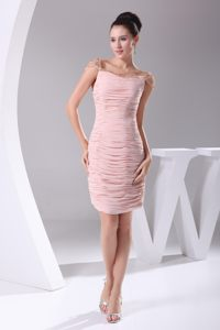 Cap Sleeves Square Neck Ruched Beads Pink Knee-length Cocktail Gown